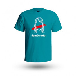 "Samarreta ""Democràcia"" blauverda - HOME"