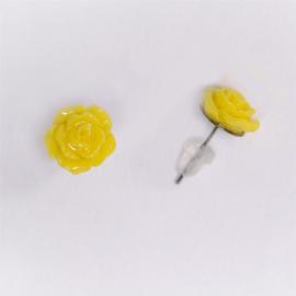 Arracades de botó flor groga
